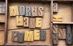 Слова имеют силу стоковая фотография rf