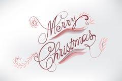 Слова флористической карты веселого рождества стилизованные стоковое изображение
