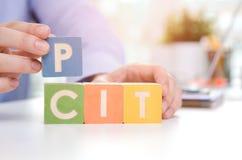 Слова ЯМЫ и CIT с красочными блоками стоковое фото