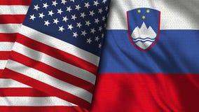 Словения и США сигнализируют - 3D флаг иллюстрации 2 бесплатная иллюстрация