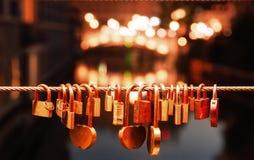 Словения ljubljana Полюбите цепи на мосте реки, padlocks Стоковая Фотография