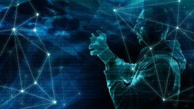 Слово алгоритма кибер безопасное, машинное обучение творческое, абстракция конспекта хаоса, творческое геометрическое современное иллюстрация вектора