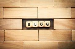 Слово блога написанное на деревянных кубах Стоковая Фотография RF