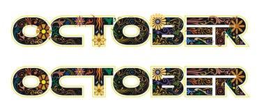 Слово в октябре украшенное с цветками и листьями бесплатная иллюстрация