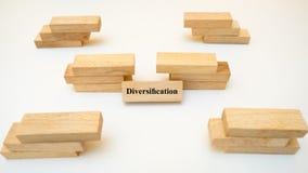 Слово диверсификации написанное на деревянном блоке на белой предпосылке стоковые фото