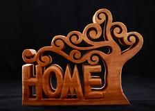 Слово домой сделало деревянной декоративной диаграммы стоковая фотография rf