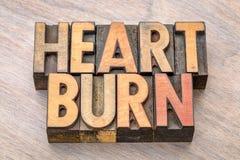 Слово изжоги в типе letterpress Стоковые Фотографии RF