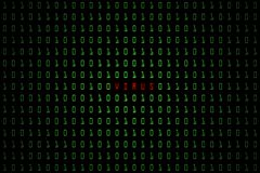 Слово компьютера вируса с темной технологии цифровой или черной предпосылкой с бинарным кодом в салатовом цвете 1001 Стоковое фото RF
