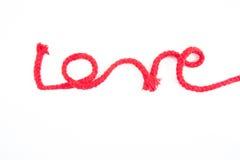 слово красной веревочки влюбленности Стоковая Фотография RF