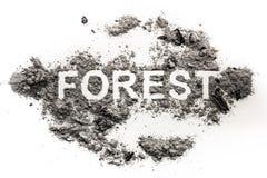 Слово леса написанное в золе как катастрофа природы стоковое изображение