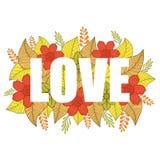 Слово ЛЮБОВЬ с предпосылкой цветков апельсина, желтых, зеленых и коричневых и листьев иллюстрация вектора