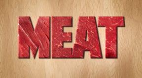 Слово мяса предусматриванное с текстурой сырого мяса на деревянной разделочной доске Стоковые Изображения
