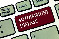Слово писать аутоиммунную болезнь текста Концепция дела для необыкновенных антител которые целятся их собственные ткани тела стоковое изображение rf