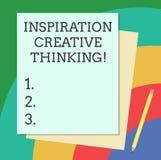 Слово писать воодушевленности текста творческую мысль Концепция дела для способности прийти вверх со свежими и новыми идеями штаб иллюстрация вектора