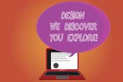 Слово писать дизайн текста мы открываем что вы исследует Концепция дела для творческих новых вещей для вас для того чтобы следова стоковое фото