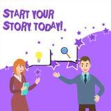 Слово писать началу текста ваш рассказ сегодня Концепция дела для работы крепко на себе и начать от этого дела момента бесплатная иллюстрация