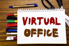 Слово, писать офис Концепция дела для онлайн пути работы написанного на тетради, деревянной предпосылке с equipm офиса Стоковое Изображение