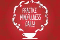 Слово писать повседневность Mindfulness практики текста Концепция дела для культивировать осведомленность фокуса на присутствующе иллюстрация штока