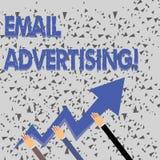 Слово писать рекламу электронной почты текста Концепция дела для поступка отправки коммерчески сообщения в целевой рынок 3 иллюстрация вектора