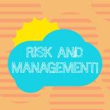Слово писать риск и управление текста Концепция дела для прогнозировать финансовые риски оценки уменьшает удар Солнце иллюстрация вектора
