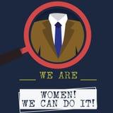 Слово писать тексту мы женщины мы можем сделать его Концепция дела для woanalysis руководителя полномочия женской силы женственно иллюстрация вектора