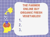 Слово писать тексту фермеру онлайн покупает органические свежие овощи Концепция дела для спринклера воды еды приобретения здорово иллюстрация штока