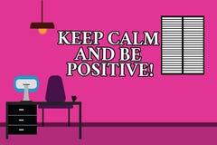 Слово писать текст держит спокойствие и положительно Концепция дела для утихомиренного пребыванием места для работы счастья позит бесплатная иллюстрация