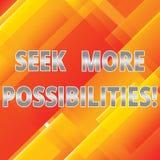 Слово писать текст ищет больше возможностей Концепция дела для поиска или найти, что возможности совместного предприятия наклонил стоковое фото rf