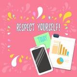 Слово писать уважение себя текста Концепция дела для считать, что вы хорош и достойный быть обработанным хорошо планом иллюстрация вектора