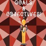 Слово писать цели и задачи текста Концепция дела для определяет стратегии или шаги вставки достигают целей иллюстрация вектора