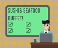 Слово писать шведский стол суш и морепродуктов текста Концепция дела для рыбных блюд японской кухни доступных для выбирает пробел иллюстрация штока