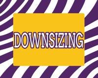 Слово писать Downsizing текста Концепция дела для Make компания более небольшая путем линяя уменьшение расходов штата иллюстрация штока