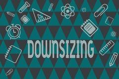 Слово писать Downsizing текста Концепция дела для Make компания более небольшая путем линяя уменьшение расходов штата бесплатная иллюстрация