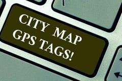 Слово писать Gps карты города текста бирки Концепция дела для расположения спутниковой навигационной системы мест в городах стоковое фото