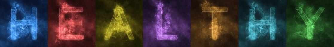 Слово помечая буквами письма ЗДОРОВОГО космоса стилизованные красочные Здорово иллюстрация вектора