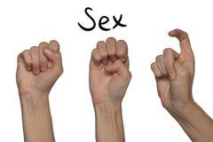 Слово секса показанное руками на алфавите для глухой сурдинки дальше Стоковое Изображение