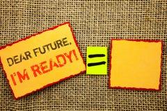 Слово, сочинительство, отправляет СМС дорогое Будущее, я готово Доверие достижения плана схематического фото вдохновляющее мотива стоковое фото rf