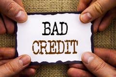 Слово, сочинительство, отправляет СМС плохой кредит Счет оценки банка схематического фото плохой для финансов займа написанных на стоковое изображение rf