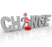 слово шагов человека изменения кнопки Стоковая Фотография