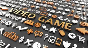 """слово """"видеоигры """"с значками 3d стоковые фотографии rf"""