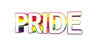 """Слово """"ГОРДОСТЬ """"в оболочке с флагом гордости LGBT сигналя вне и вращая против белой предпосылки 4K иллюстрация штока"""