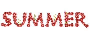 """Слово """"лето """" Красная надпись на белой предпосылке бесплатная иллюстрация"""