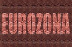 "Слово ""Eurozona ""на предпосылке, внутри писем монетки, цент евро 2 иллюстрация вектора"