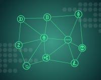 Слово Blockchain с зеленой предпосылкой Стоковые Фото