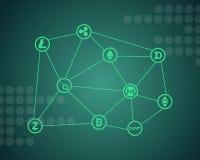 Слово Blockchain с зеленой предпосылкой Стоковое Фото