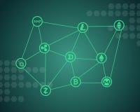 Слово Blockchain с зеленой предпосылкой Стоковое фото RF