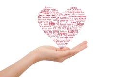 слово mutil влюбленности руки Стоковое Изображение RF