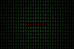 Слово Wannacry с темной технологии цифровой или черной предпосылкой с бинарным кодом в салатовом цвете 1001 Стоковая Фотография