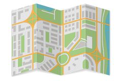 Сложенная карта города Абстрактное картоведение иллюстрация вектора