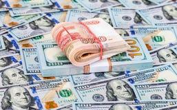Сложенный 5 тысячн банкнотам русских рублевок Стоковое Изображение RF